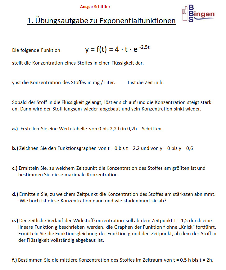 Gemütlich Arbeitsblatt Exponentialfunktionen Zeitgenössisch ...