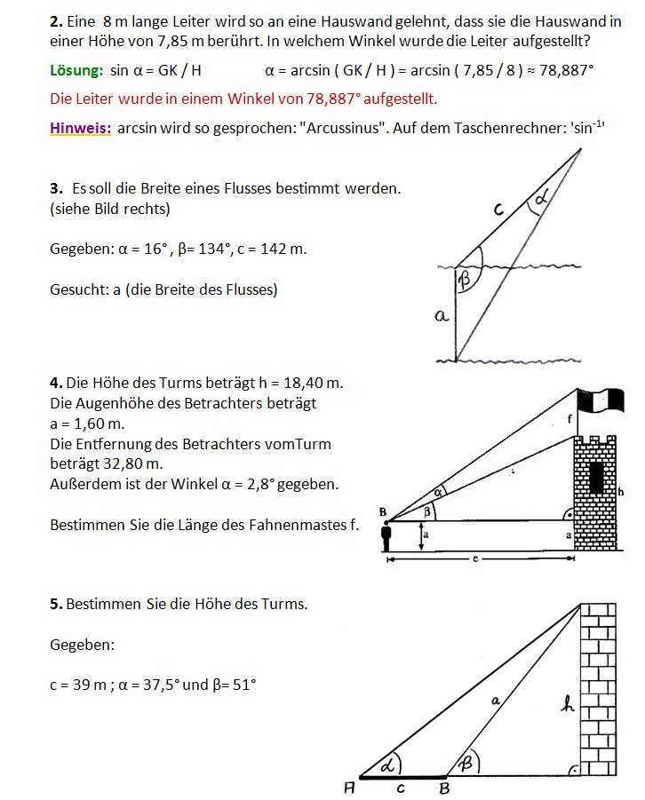 Übungsaufgaben Trigonometrie